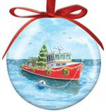 Ball Ornament - Lobster Boat with Tree