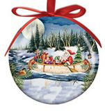 Ball Ornament - Birchbark Canoe