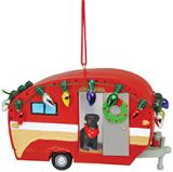 Resin Ornament - Camper with Dog