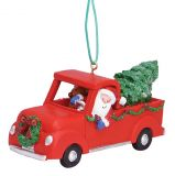 Resin Ornament - Santa in Red Pickup Truck