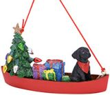 Resin Ornament - Dog in Canoe with Lights