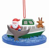 Resin Ornament - Whale Watch Boat with Santa