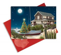 Embellished Christmas Cards - Moonlit Beach House