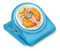 Button Clip Magnet Mary on Vacation Inner Tube Girls