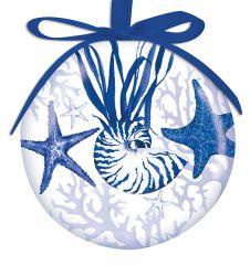 Ball Ornament - Indigo Shells