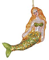 Blown Glass Ornament - Mermaid on side