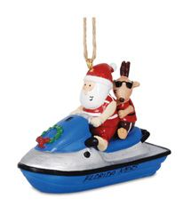Resin Ornament - Santa & Reindeer on Jet Ski