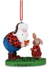 Resin Ornament - Santa with Carrot & Bunny