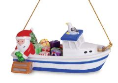 Resin Ornament - Santa in Lobster Boat