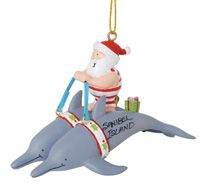 Resin Ornament - Dolphin s Pulling Santa
