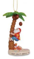 Resin Ornament - Santa Climbing Palm