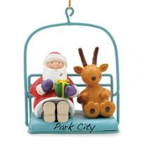 Resin Ornament - Santa on Chairlift