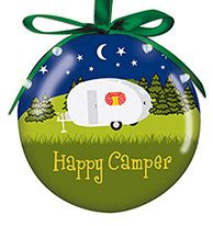 Light Up Ball Ornament - Happy Camper
