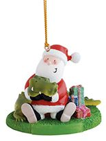 Resin Ornament - Santa Wrestling Gator