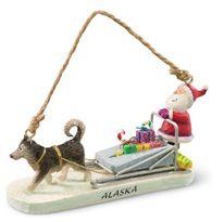 Resin Ornament - Santa Sledding