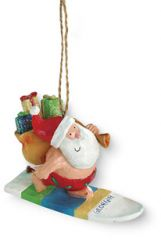 Resin Ornament - Santa Surfing