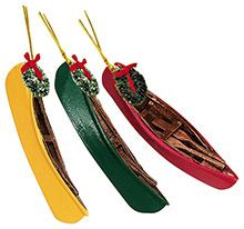 Wood Ornament - Canoe