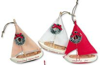 Wood Ornament - Sailboat - assorted colors