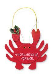 Wood Ornament - Christmas Crab