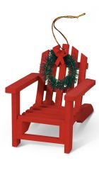 Wood Ornament - Adirondack Chair - Red Only