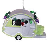 Ceramic Ornament - Teardrop Camper with Lights