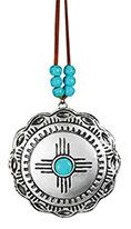 Metal Ornament - Silver Medallion with Turquoise