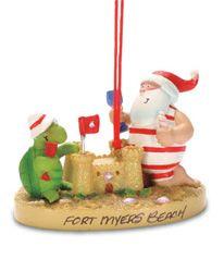 Resin Ornament - Santa Turtle Sandcastle
