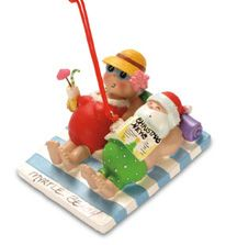 Resin Ornament - Mr & Mrs Claus at Beach
