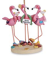 Resin Ornament - Flamingos Partying