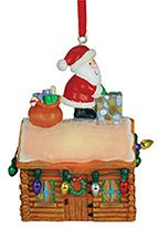 Light-up Resin Ornament - Santa on Log Cabin