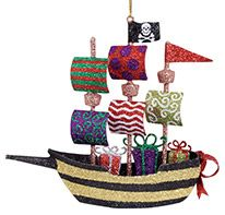 Glittered Metal Ornament - Pirate Ship