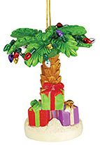 Light-up Resin Ornament - Palm Tree with Gifts