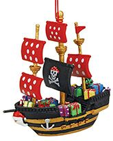 Resin Ornament - Black Pirate Ship