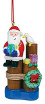 Resin Ornament - Santa with Seagull on Piling