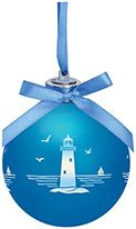 Light-up Frosted Glass Ball Ornament - Lighthouse