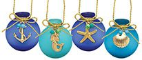 Frosted Glass Ball Ornament with Charms (assorted colors/icons)