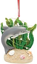 Light-up Resin Ornament - Dolphin in Seaweed