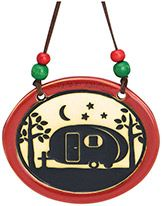 Pottery Disk Ornament - Camper