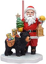 Resin Ornament - Old Fashioned Santa with Black Bear