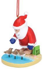 Resin Ornament -Santa with Sandpipers