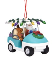 Resin Ornament - Santa In Golf Cart with Lights