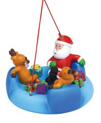 Resin Ornament - Santa River Tubing with Friends