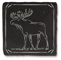Slate Coaster - Moose