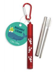 Collapsible Straw with Case - Lobster