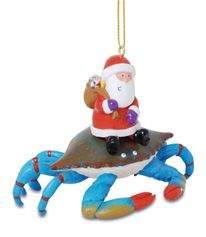 Resin Ornament - Blue Crab with Santa