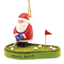 Resin Ornament - Santa on Putting Green
