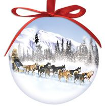 Ball Ornament - Dog Sled
