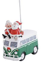 Resin Ornament - Old Style Van with Santa