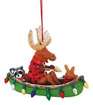 Resin Ornament - Moose and Friends in Canoe