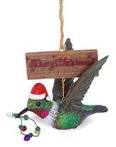 Resin Ornament - Hummingbird with Santa Hat